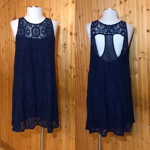 Like New Free People Blue Lace Shift Dress size S